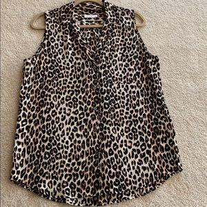 Equipment sleeveless tiger print blouse in silk